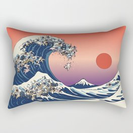 The Great Wave Of  French Bulldog Rectangular Pillow