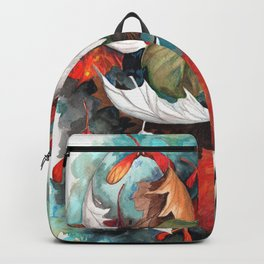 Leaves graphic black and white colorized Backpack