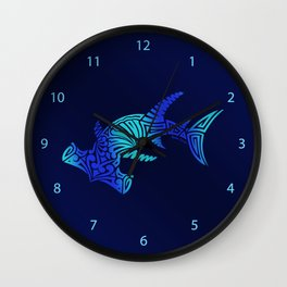 Ombre Blues Hammerhead Wall Clock