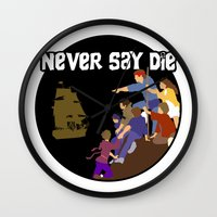 the goonies Wall Clocks featuring Goonies Never Say Die by Darth Paul