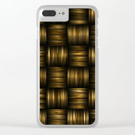 Golden Chocolate Brown Weave Clear iPhone Case