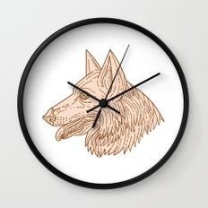 German Shepherd Dog Head Mono Line Wall Clock