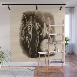 The Dark Side - Surreal Black Horse and Moon Wall Mural