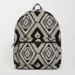 Black and neutral tribal diamond pattern Backpack