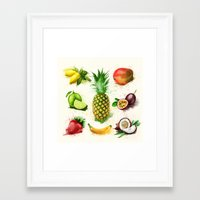 fruits Framed Art Prints featuring fruits by Zazie-bulles
