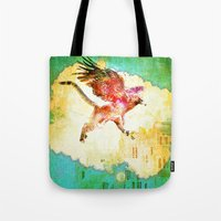 mythology Tote Bags featuring Gryphon mythology by Ganech joe