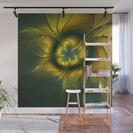 Golden Flower, Abstract Fractal Art Wall Mural