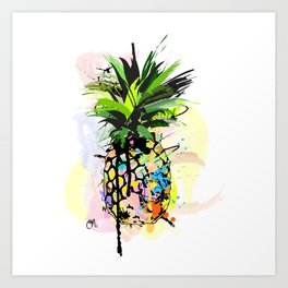 Abstract Watercolor Pineapple Art Print
