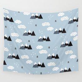 Cool winter wonderland snow Fuji Mountain geometric illustration pattern Wall Tapestry