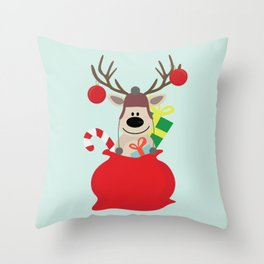 Santa Claus sends you Surprise gift with Mr Reindeer Throw Pillow