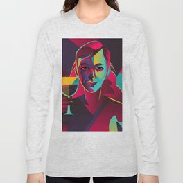 colorful cubist girl drinking wine Long Sleeve T-shirt