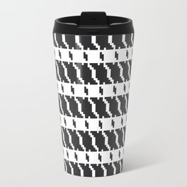 Black and white geometric abstract background, cloth pattern, goose foot. Pied de poule. Ve Travel Mug