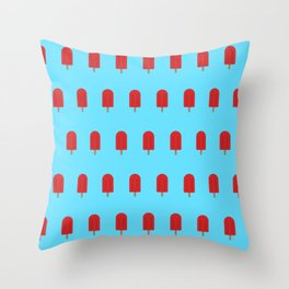 Red Popsicles - Blue Background Throw Pillow