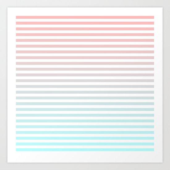 Beach Blanket - Peach/Aqua Art Print
