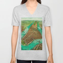 Retro New York Print Unisex V-Neck