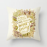 fitzgerald Throw Pillows featuring Zelda Fitzgerald – Fall Palette by Cat Coquillette