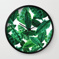 palm Wall Clocks featuring Palm  by Amy Sia