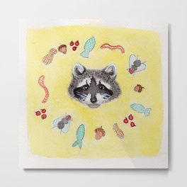 Raccoon Cycle Metal Print