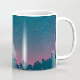 Blue Purple Pink Silhouette Milky Way Galaxy Forest Coffee Mug