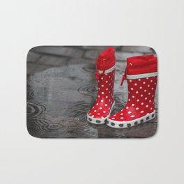 Red boots rainy season Bath Mat