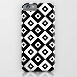 Diamond Check Pattern Black and White iPhone Case
