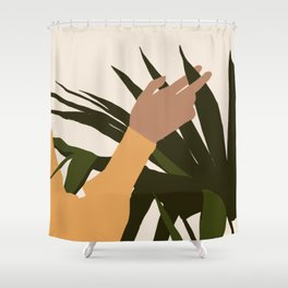 SENUALITÀ MONDIALE - Half of world - Lovely girl hand touching plant Shower Curtain