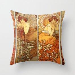 "Alphonse Mucha ""The Gem Series - Ruby, Amethyst, Emerald, Topaz"" Throw Pillow"