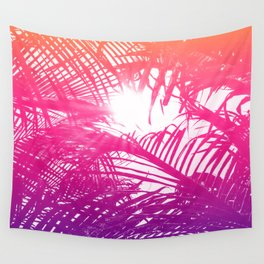 Tropical Orange Pink and Purple Palm Fronds Wall Tapestry