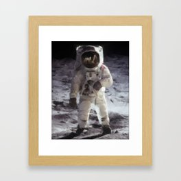 Buzz Aldrin on the Moon in Triangles Framed Art Print
