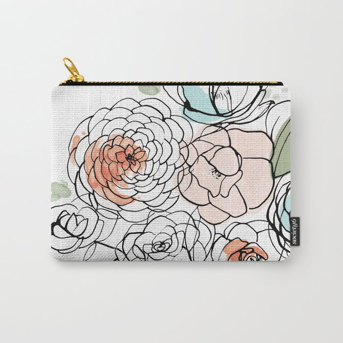 Inky Camellias Carry-All Pouch