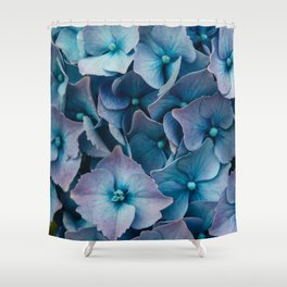 Blue Summer Hydrangeas Shower Curtain