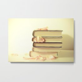 Books and Flower Petals Metal Print