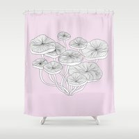 mushrooms Shower Curtains featuring Mushrooms by Monica Sloane