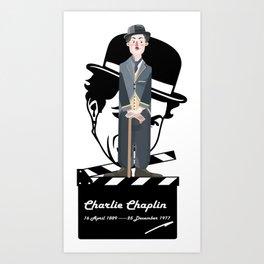 ***Ltd Edition: retro art charlie chaplin Art Print
