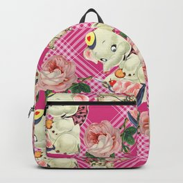 retro pets plaid pink Backpack