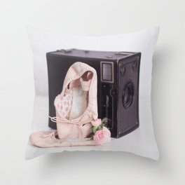 Ballet Photograph, Ballerina Art, Still Life, Home Decor, Girls Room, Still Life, Vintage Camera Throw Pillow