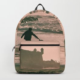 Beach - Man - Dog - Silhouette - Castle - Happy - Pet - Play. Little sweet moments. Backpack