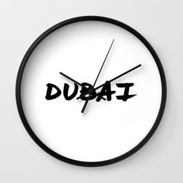 'Dubai' Hand Letter Type Word Black & White Wall Clock