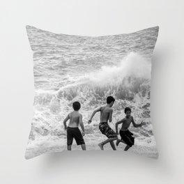 Boys at Sea Throw Pillow
