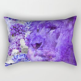 LION AND ORCHIDS  PURPLE AND BLUE FANTASY DREAM Rectangular Pillow