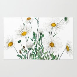 white Margaret daisy watercolor Rug