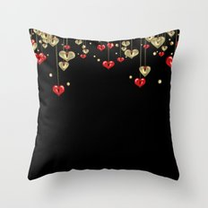 Beautiful glitter shine hearts on black Valentines Day greeting Throw Pillow