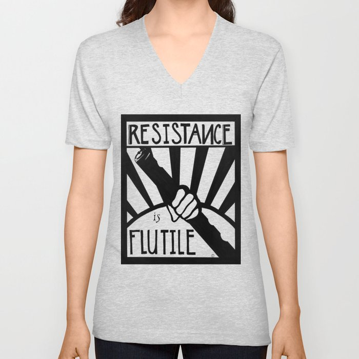 Resistance is Flutile Unisex V-Neck