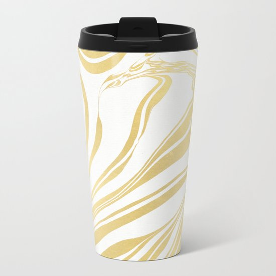 Bronze Copper Gold Rush Marble Ink Swirl Metal Travel Mug