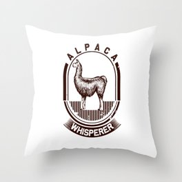 alpaca whisperer lama alpaca cute animal fur white Throw Pillow