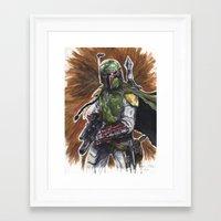 boba fett Framed Art Prints featuring Boba Fett by KristinMillerArt