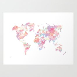 Watercolour World Map (pink) Art Print