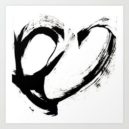 Brushstroke 6: a minimal, abstract, black and white piece Art Print