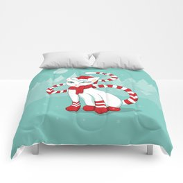 White cat in Christmas mood Comforters
