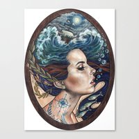 lost Canvas Prints featuring Lost At Sea by Wendy Ortiz
